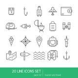 Lignes minces collection d'icône - appareils électroménagers, tourisme et voyage illustration de vecteur