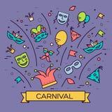 Lignes minces illustrationss d'équipement de fête de vacances de festival de célébration réglés Conception de collection de carna Photos stock