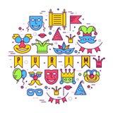 Lignes minces illustrationss d'équipement de fête de vacances de festival de célébration réglés Conception de collection de carna Photographie stock libre de droits