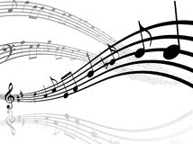 Lignes musicales avec des notes Photographie stock
