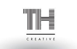 Lignes noires et blanches lettre Logo Design du TH T H Image stock