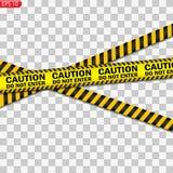 Lignes noires et jaunes de précaution d'isolement illustration stock