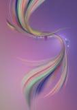 Lignes onduleuses blanches avec la perle et vagues colorées incurvées sur un fond pourpre-rose Images libres de droits