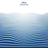 Lignes onduleuses bleues de rayures de résumé modèle de vague sur le backhround et la texture blancs illustration stock