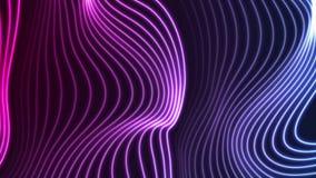 Lignes onduleuses incurvées au néon ultra-violettes bleues animation visuelle illustration stock