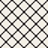 Lignes onduleuses noires et blanches sans couture modèle de vecteur de grille géométrique de losange illustration de vecteur