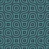 Lignes onduleuses sans couture rétro modèle sale irrégulier de vecteur de grunge de bleu marine Images stock