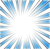 Lignes radiales tramées bleues de vitesse pour la bande dessinée Image libre de droits