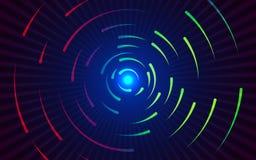 Lignes rondes fond Contexte coloré abstrait de gradient Lignes de tourbillonnement rouges et vertes Formes colorées entourantes Photo libre de droits