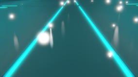 Lignes rougeoyantes bleues au néon de la science fiction sur le plancher convergeant à un point 3d pour rendre illustration stock