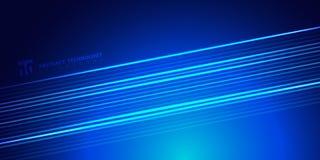 Lignes rougeoyantes de bleu lumineux rayé de résumé sur le style foncé de technologie de fond L'espace pour le texte illustration de vecteur