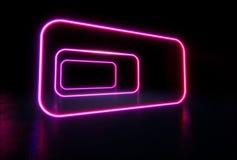 Lignes rougeoyantes, tunnel, lampes au néon Sci futuriste fi allumant l illustration de vecteur