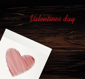 Lignes simples sous forme de rouge de coeur sur un autocollant pour la Saint-Valentin Concept de construction créateur Illustrati illustration stock