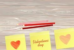 Lignes simples tirées par la main sous forme de coeurs rouges sur autocollants pour la Saint-Valentin Concept de construction cré illustration stock