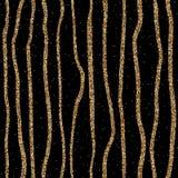 Lignes tirées par la main de scintillement d'or Photo stock