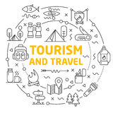 Lignes tourisme et voyage de cercle d'illustration d'icônes Photo libre de droits