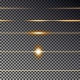 Lignes transparentes jaunes collection d'effet Vecteur léger de fusée Ligne de diviseur sans couture illustration libre de droits