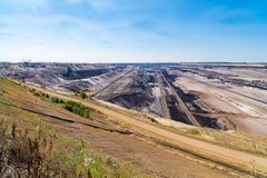 Lignite brown-coal mine in Germany. Enormous bucket-wheel excavator in an open pit lignite brown-coal mine at Garzweiler, Germany stock photography