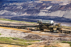 Lignite (brown coal) strip mining in Garzweiler, Germany. A large surface mine for power generation with significant impact on the environment and to the royalty free stock photography