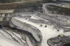 Lignite mining pit. Above view landscape stock photography