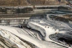Lignite mining pit. Above view landscape stock images