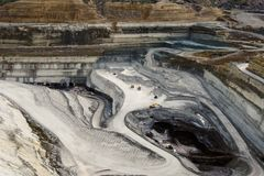 Lignite mining pit. Above view landscape royalty free stock image