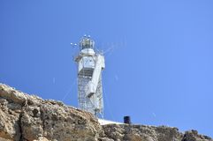 Lignthouse sulla linea costiera del Mar Rosso Fotografia Stock