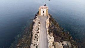 Torre di Ligny in Trapani Sicily. The Ligny Tower (Torre di Ligny) and the sea in Trapani, Sicily stock images