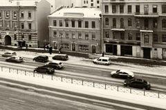Avenue traffic St. Petersburg winter Royalty Free Stock Image