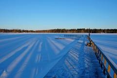 Ligplaats in sneeuw Stock Foto