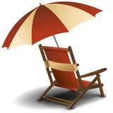 Ligstoel met paraplu stock illustratie