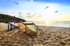 Ligstoel op het strand Royalty-vrije Stock Foto