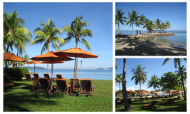 Ligstoel in Thaise toevlucht stock afbeeldingen