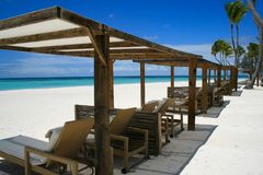 Ligstoelen in GLB Cana, Punta Cana Stock Afbeeldingen