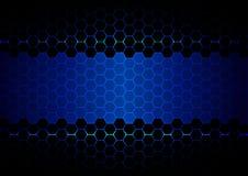 Ligth di esagono astratto e tecnologia blu della luce ultravioletta Fotografia Stock
