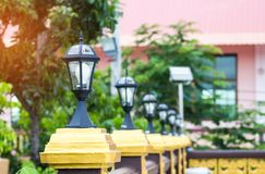 Ligth lamp,LED light post on the fence,temple estate,beauty mode Stock Image