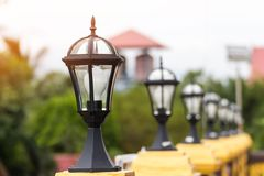 Ligth lamp,LED light post on the fence,temple estate,beauty mode Royalty Free Stock Image