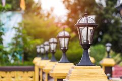Ligth lamp,LED light post on the fence,temple estate,beauty mode Royalty Free Stock Photography