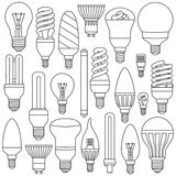 Ligth lamps set. Outlined icons isolated on the white Royalty Free Stock Photo