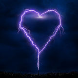 Ligthning Heart. Lightning in sky, digitally heartshaped Royalty Free Stock Photography