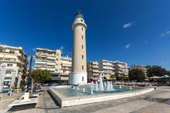 Ligthouse在亚历山德鲁波利斯、东部马其顿和色雷斯,希腊镇  库存照片
