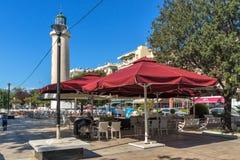 Ligthouse在亚历山德鲁波利斯、东部马其顿和色雷斯,希腊镇  免版税库存照片