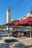 Ligthouse在亚历山德鲁波利斯、东部马其顿和色雷斯,希腊镇  库存图片