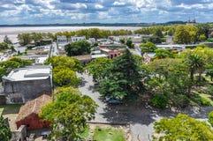 从ligthouse的看法,科洛尼亚德尔萨克拉门托,乌拉圭 图库摄影