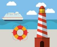 ligthouse beach lifebuoy ship ocean Royalty Free Stock Photography