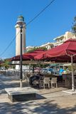 Ligthouse w miasteczku Alexandroupoli, Wschodni Macedonia i Thrace, Grecja Obraz Stock
