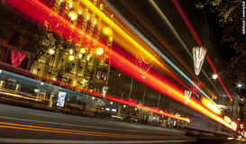 Ligths in Barcelona. Christmas lights in Barcelona city Stock Photography