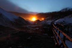 Ligths en el valle Japón del infierno Fotografía de archivo