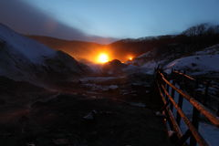 Ligths in Hell Valley Japan Stock Photography