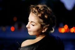 Ligthts города женщины и ночи Стоковое Изображение